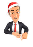 3d businessman christmas. 3d businessman pointing to empty wall and holding santa hat,  white background Stock Photo