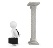 3d businessman with classic column. On a white background Stock Image
