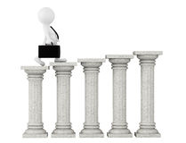 3d businessman with classic columns. On a white background Stock Photo