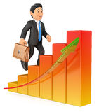 3D Businessman climbing a bar graph. 3d business people. Businessman climbing a bar graph. White background Royalty Free Stock Photos