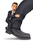 3d businessman clinging to leg Stock Image