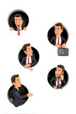 3d businessman coming through circular holes in wall Stock Photography