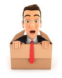 3d businessman coming out of the box. Illustration with  white background Stock Photography