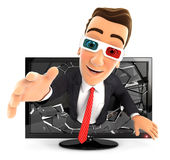 3d businessman coming out of 3d television. Isolated white background Stock Photography