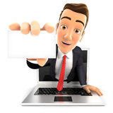3d businessman coming out of laptop with a business card. White background Royalty Free Stock Photo