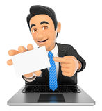 3D Businessman coming out a laptop screen with a blank card Royalty Free Stock Photos