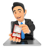 3D Businessman coming out a laptop screen with an engagement rin. 3d business people illustration. Businessman coming out a laptop screen with an engagement ring Royalty Free Stock Image