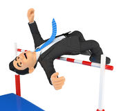 3D Businessman competing in high jump. Overcoming Royalty Free Stock Image