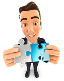 3d businessman connecting two pieces of puzzle. White background Royalty Free Stock Photos