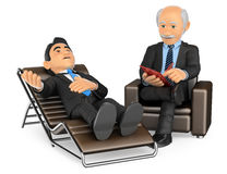 3D Businessman consulting the psychologist. 3d medical people illustration. Businessman consulting the psychologist. White background Royalty Free Stock Photo