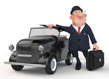 The 3D businessman costs near car. Royalty Free Stock Image