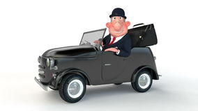 The 3D businessman costs near car. stock video
