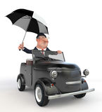 The 3D businessman costs near car. Stock Photos
