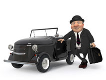 The 3D businessman costs near car Stock Image
