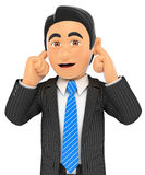 3D Businessman covering his ears Stock Photo
