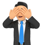 3D Businessman covering his eyes. 3d business people. Businessman covering his eyes. White background Royalty Free Stock Images