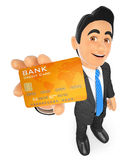 3D Businessman with a credit card. 3d business people. Businessman with a credit card. White background Stock Image