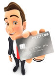 3d businessman credit card. 3d businessman holding a credit card,  white background Royalty Free Stock Photography