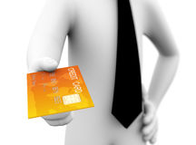 3d businessman credit card offer illustration Royalty Free Stock Photos