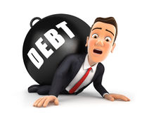 3d businessman crushing debt. Illustration with isolated white background Stock Images