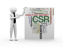 3d businessman with csr word tags. 3d render of business person with wordcloud word tags of csr - corporate social responsibility Stock Photos