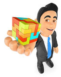 3D Businessman with a cube. Create concept. 3d business people illustration. Businessman with a cube. Create concept. White background Stock Photo