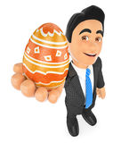 3D Businessman with a decorated easter egg. 3d business people illustration. Businessman with a decorated easter egg. White background Stock Photo