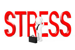 3d Businessman Depressed near Stress Sign. 3d Rendering. 3d Businessman Depressed near Stress Sign on a white background. 3d Rendering Stock Image