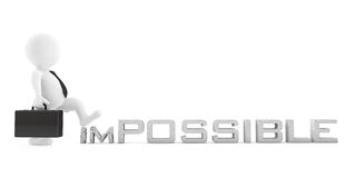 3d Businessman destroy Impossible Sign. 3d Rendering. 3d Businessman destroy Impossible Sign on a white background. 3d Rendering Stock Photos