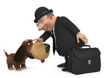 3d  businessman with a dog. Meeting of two old friends Stock Photo