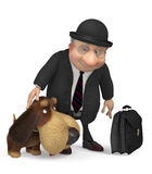 3d businessman with a dog. Meeting of two old friends Stock Images
