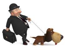 3d businessman with a dog Stock Photos