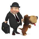 3d businessman with a dog. Pet on walk with the owner Stock Photo