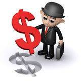 3d Businessman dollar puzzle Royalty Free Stock Image