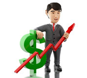 3d Businessman with a dollar sign and growth graph. 3d renderer image. Businessman with a dollar sign and growth graph. Business and success concept. Isolated Stock Image
