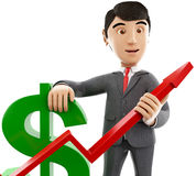 3d Businessman with a dollar sign and growth graph. 3d renderer image. Businessman with a dollar sign and growth graph. Business and success concept. Isolated Stock Photos