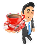 3D Businessman drinking a cup of coffee with milk. 3d business people illustration. Businessman drinking a cup of coffee with milk. White background Stock Images