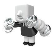3d Businessman with dumbbells. 3D Square Man Series. Stock Images