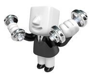 3d Businessman with dumbbells. 3D Square Man Series. Royalty Free Stock Photos