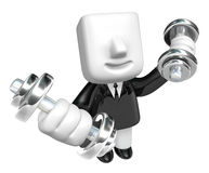 3d Businessman with dumbbells. 3D Square Man Series. Royalty Free Stock Image