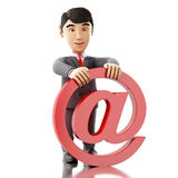 3d Businessman with an email symbol. 3d Illustration. Businessman with an email symbol. Business concept.  white background Royalty Free Stock Photography