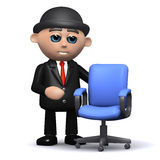 3d Businessman and empty office chair. 3d render of a businessman next to an empty office chair Royalty Free Stock Photography