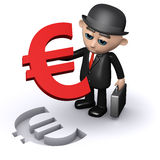 3d Businessman with a Euro symbol jigsaw puzzle. 3d render of a businessman holding a Euro currency symbol jigsaw puzzle piece Royalty Free Stock Photography