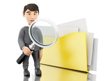 3d Businessman examines folders. Stock Photography
