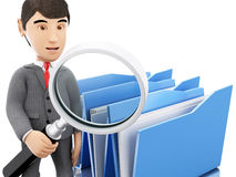 3d Businessman examines folders. Royalty Free Stock Photography