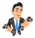 3D Businessman exercising with two dumbbells fitness. Overcoming Stock Photos