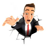 3d businessman falling down into a hole. White background Royalty Free Stock Photos