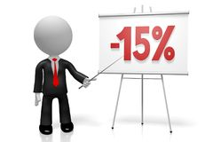 3D businessman - fifteen percent off. 3D businessman, flip-chart -15% off - great for topics like sale/ advertising/ discount etc Royalty Free Stock Image