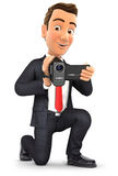 3d businessman filming with video camera. Illustration with  white background Royalty Free Stock Photo