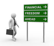 3d businessman financial freedom ahead roadsign Royalty Free Stock Photos